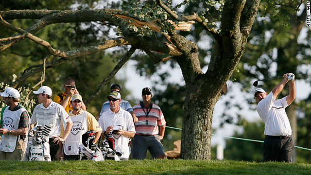 Zimbabwe's Brendon De Jonge (right) during the third round of the AT&T National which was disrupted by storms on Friday night