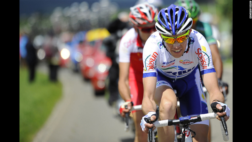 Anthony Delaplace of France leads the six riders in the breakaway group on Sunday.