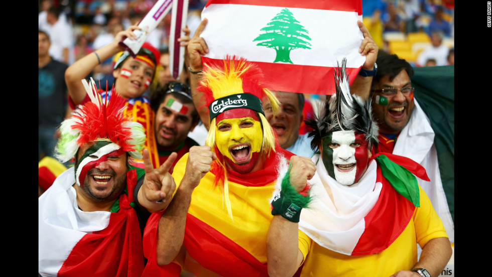 Fans enjoy the atmosphere ahead of the Euro 2012 final between Spain and Italy.
