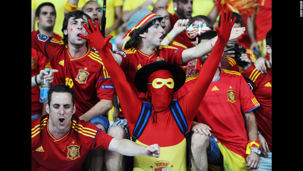 Spain fans gear up for the match against Italy on Sunday.