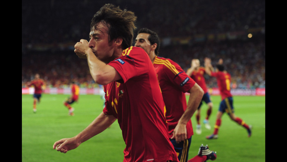 David Silva of Spain celebrates after scoring the opening goal in the Euro 2012 final match against Italy on Sunday.