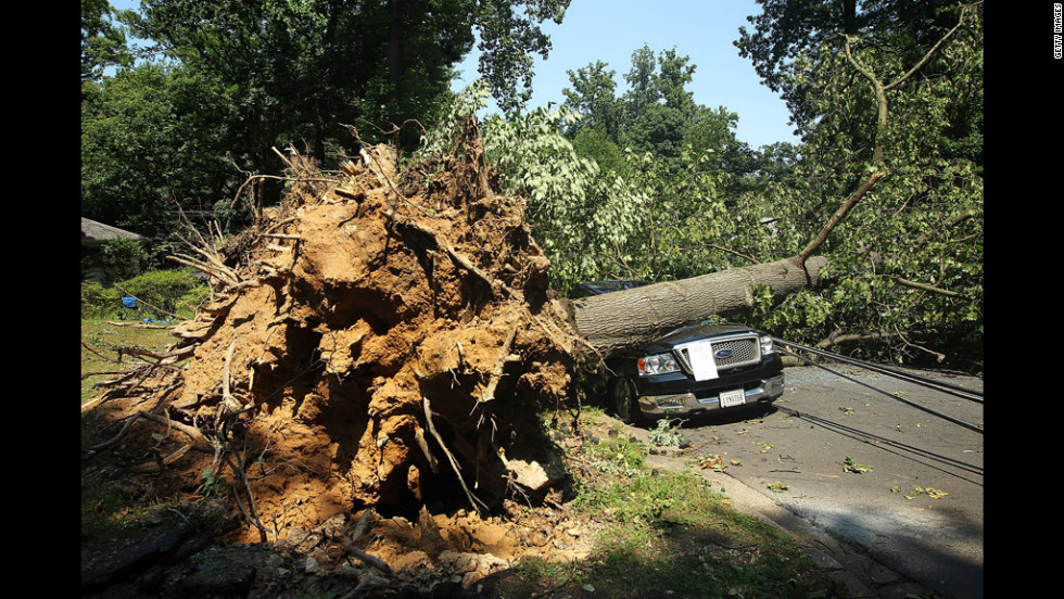 A downed tree damages a truck in Falls Church, Virginia.