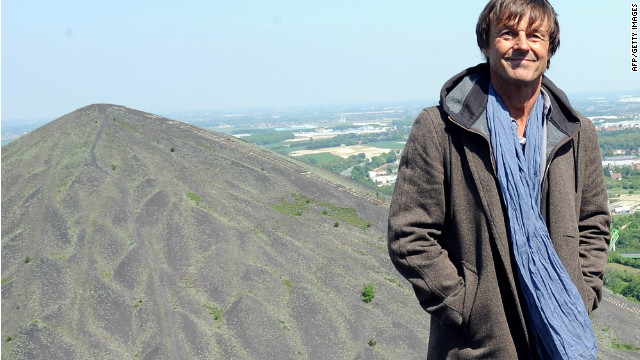 Former French presidential candidate Nicolas Hulot pictured close to a giant coal slag heap in the mining region of Pas de Calais.