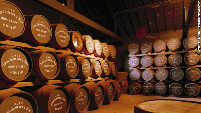 Barrels you might see on a tour of Jameson Irish Whiskey, a distillery in Midleton, Ireland.