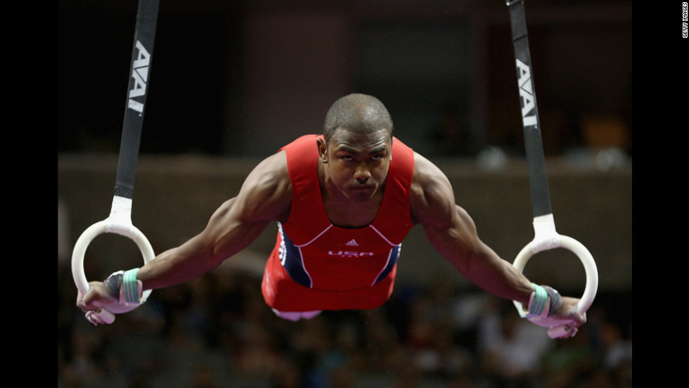 John Orozco competes on the rings during Day Three of the 2012 U.S. Olympic Gymnastics Team Trials on Saturday, June 30, in San Jose, California.