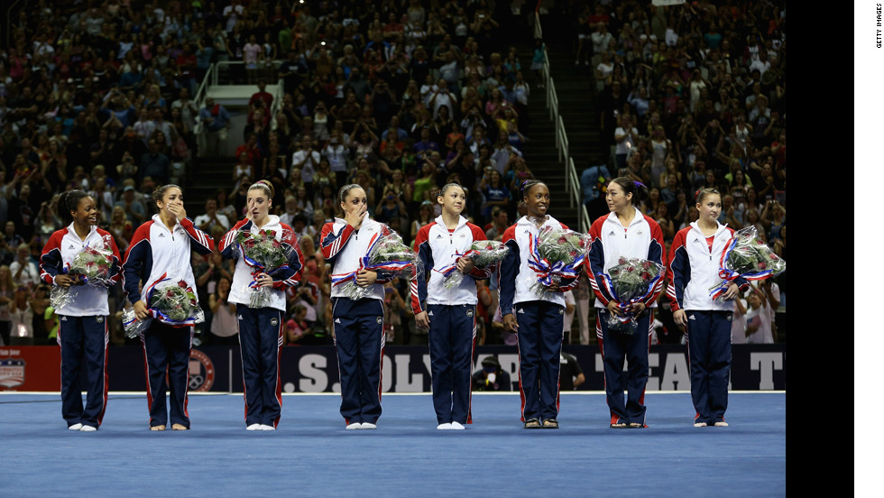The U.S. women's gymnastics team -- from left, Gabrielle Douglas, Alexandra Raisman, McKayla Maroney, Jordyn Wieber, Kyla Ross, Elizabeth Price, Anna Li and Sarah Finnegan -- is announced for the 2012 London Olympics.