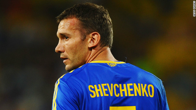 Andriy Shevchenko looks on during the UEFA EURO 2012 match between England and Ukraine on June 19, 2012 in Donetsk.