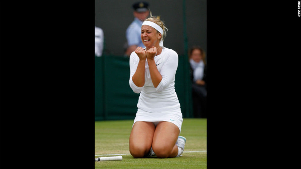 Sabine Lisicki of Germany reacts after beating Maria Sharapova of Russia to advance in the tournament Monday.