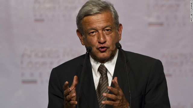 The Mexican presidential candidate for the leftist coalition Progressive Movement of Mexico, Andres Manuel Lopez Obrador, speaks during a press conference in Mexico City, on July 1, 2012.
