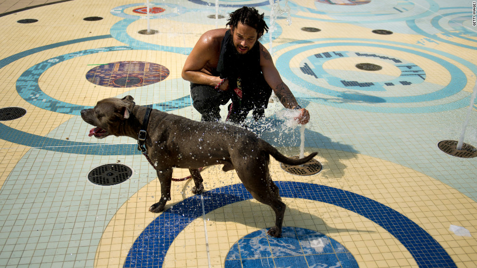 Bryan Moran sprays his dog, Rocky, with water in Washington's Columbia Heights on Sunday. Eastern cities were forecast to approach or break record-high temperatures.