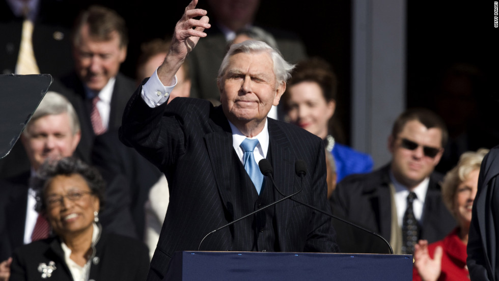 Griffith read a poem after the 2009 inauguration of North Carolina Gov. Beverly Perdue in Raleigh.