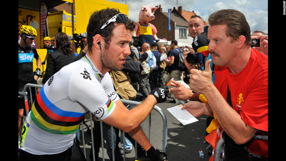 Team Sky sprinter Mark Cavendish of Great Britain arrives for the start of Stage 3 on Tuesday.