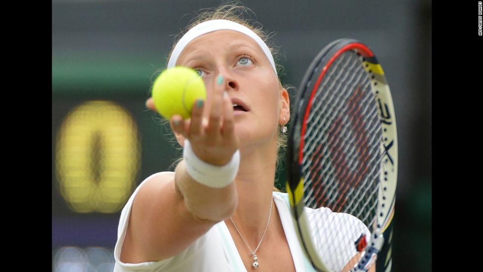 Kvitova serves during her women's singles quarter-final match against Williams.