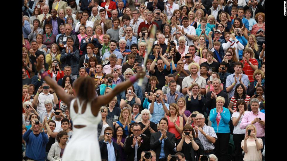 Williams celebrates after beating Kvitova in the Ladies' Singles quarterfinal match.