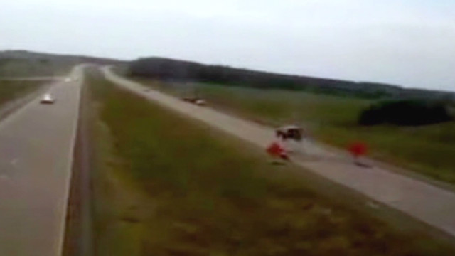 Watch SUV go airborne on buckled road