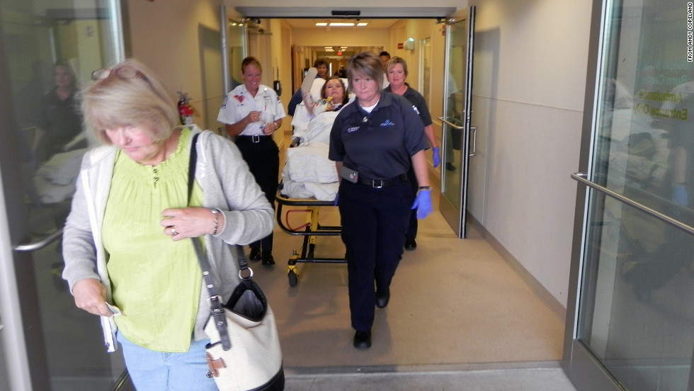 Copeland bids farewell to Doctors Hospital, where she spent two months receiving treatment.