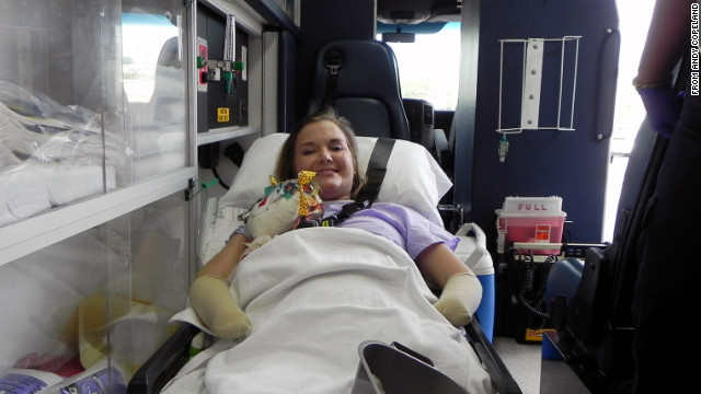 Aimee Copeland, the 24-year-old Georgia woman who has waged a two-month battle against a flesh-eating bacteria, was released from hospital on Monday, July 2, 2012.  Copeland's ordeal began May 1 when she was riding a makeshift zip line across the Little Tallapoosa River, about 50 miles west of Atlanta. The line snapped, and she fell and received a gash in her left calf that took 22 staples to close.  Three days later, still in pain, she went to an emergency room. Doctors eventually determined she had necrotizing fasciitis caused by the bacteria Aeromonas hydrophila.  Copeland will enter a rehab facility for an undetermined amount of time before returning home after surgeons amputated most of her hands, one of her legs and her remaining foot in an effort to stay ahead of the infection. She has also had multiple skin grafts after tissue was removed from her abdomen.