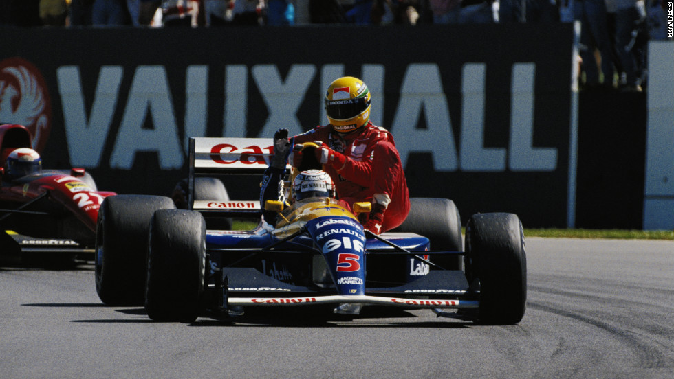 The following year Senna was famously given a ride by race winner Nigel Mansell after he ran out of fuel on the final lap at Silverstone.