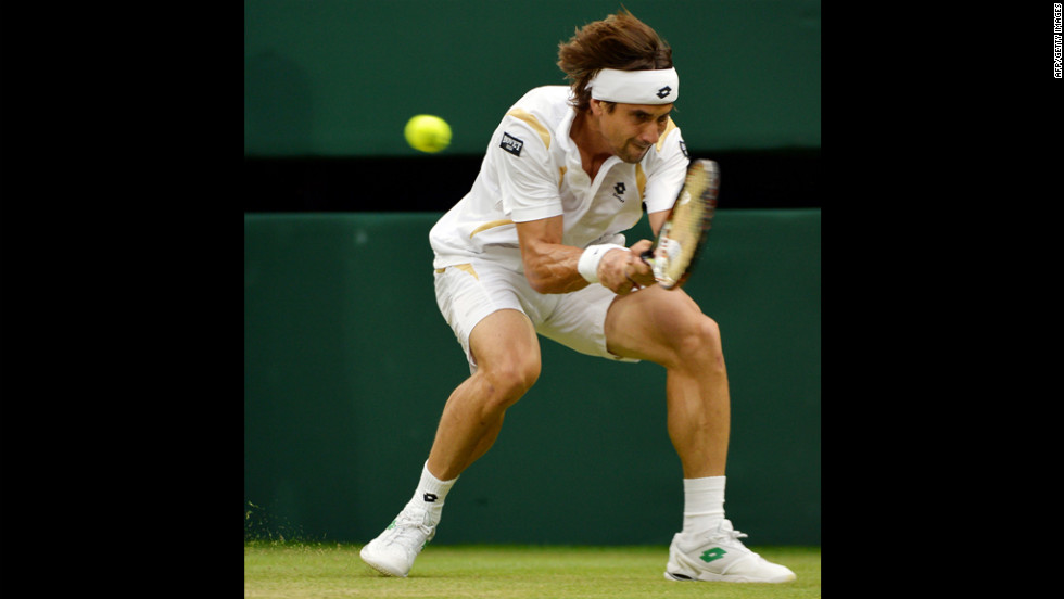 Spain's David Ferrer plays a double-handed backhand shot during his fourth round men's singles match against Argentina's Juan Martin Del Potro on Tuesday.
