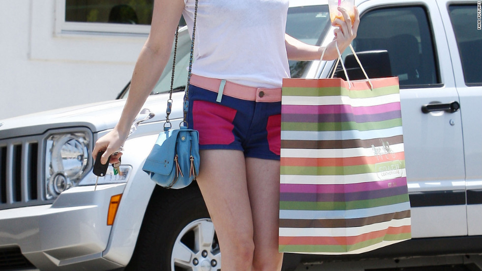 Emma Roberts goes shopping in Beverly Hills.