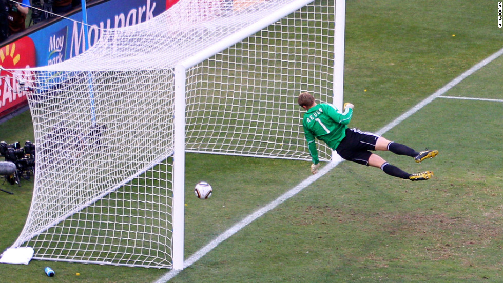 England have been at the center of some of the most famous goal-line controversies. At the 2010 World Cup, England and Germany met again in the round of 16. With Germany leading 2-1, England's Frank Lampard hit a shot which struck the bar and landed well over the goal line, but no goal was awarded, and Germany won 4-1.