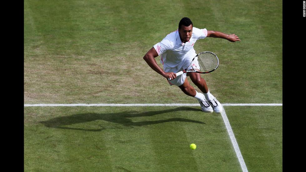 Tsonga in action during his Gentlemen's Singles quarter final match against Kohlschreiber.