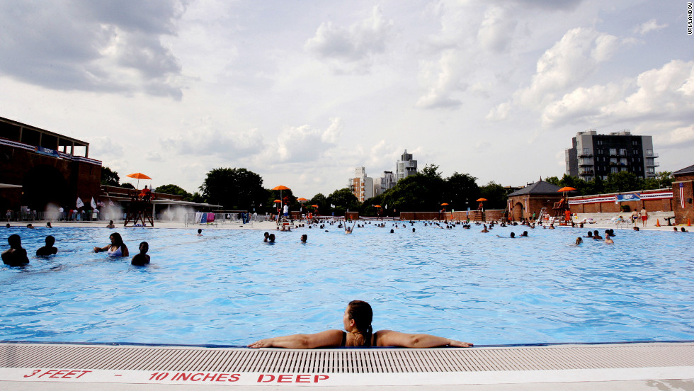 Residents find relief from the heat at the McCarren Park pool in Brooklyn, New York, on Tuesday, July 3.