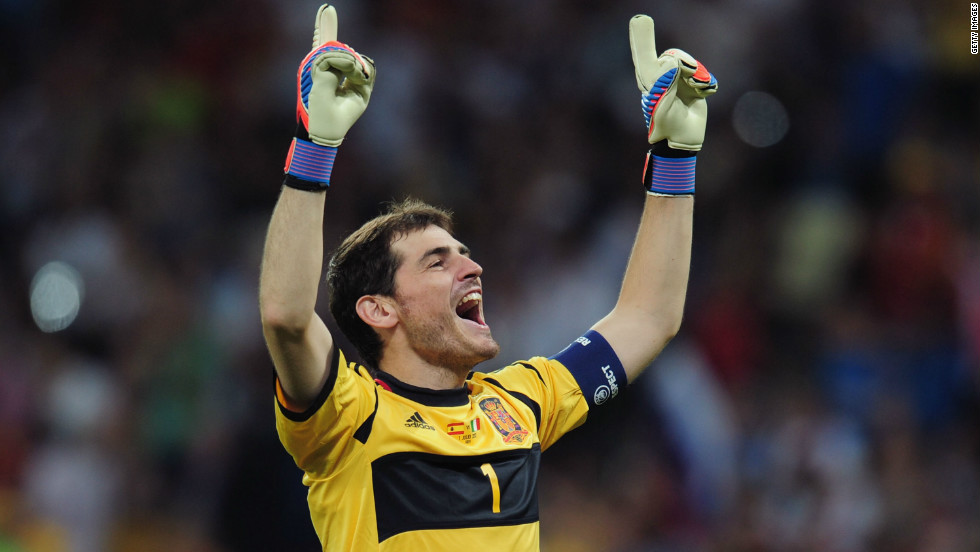 Captain Iker Casillas was a key part of Spain's Euro 2012-winning team. The goalkeeper was also in Spain's teams of 2008 and 2010 and was one of the reasons La Roja conceded just one goal in six games in Poland and Ukraine.