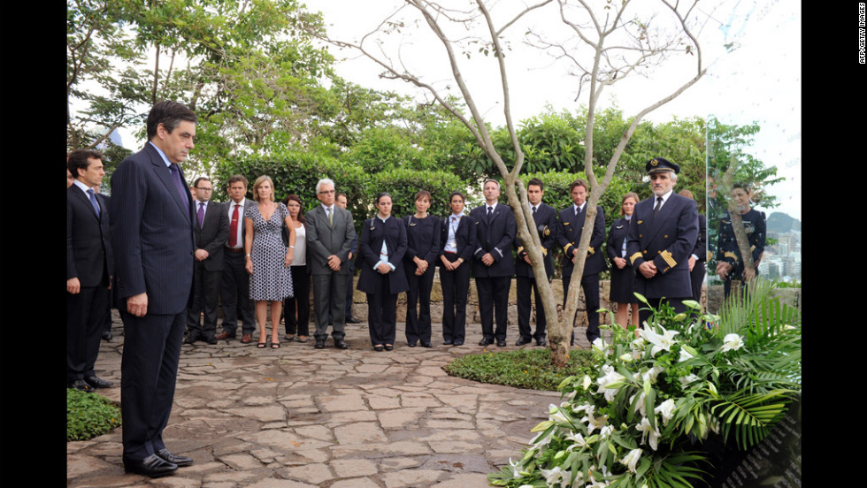French Prime Minister Francois Fillion, left, honors victims with a tribute in Rio de Janeiro, Brazil, on December 16, 2011. It took four searches over the course of nearly two years to locate the bulk of the wreckage and the majority of the bodies in a mountain range deep under the ocean.