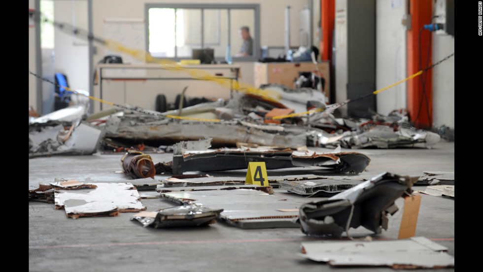 Debris from the flight is seen at an aeronautical laboratory in Toulouse, France, on July 24, 2009.