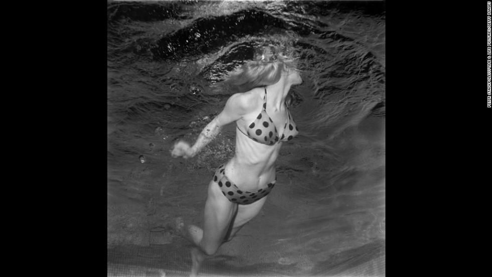 Model Lynn Jones shows off a bikini underwater in 1955.