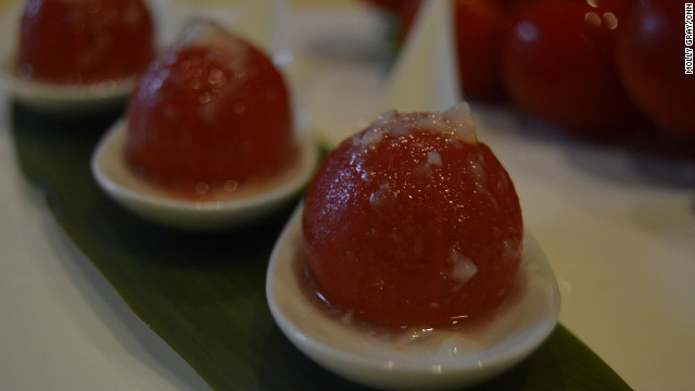 One of Club Qing's most popular dish is an appetizer that features cherry tomatoes covered in lychee sauce.