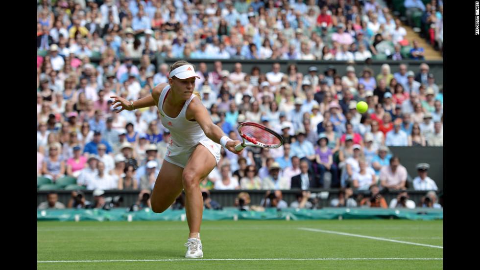 Kerber plays a backhand shot during her Ladies' Singles semifinal defeat to Radwanska.