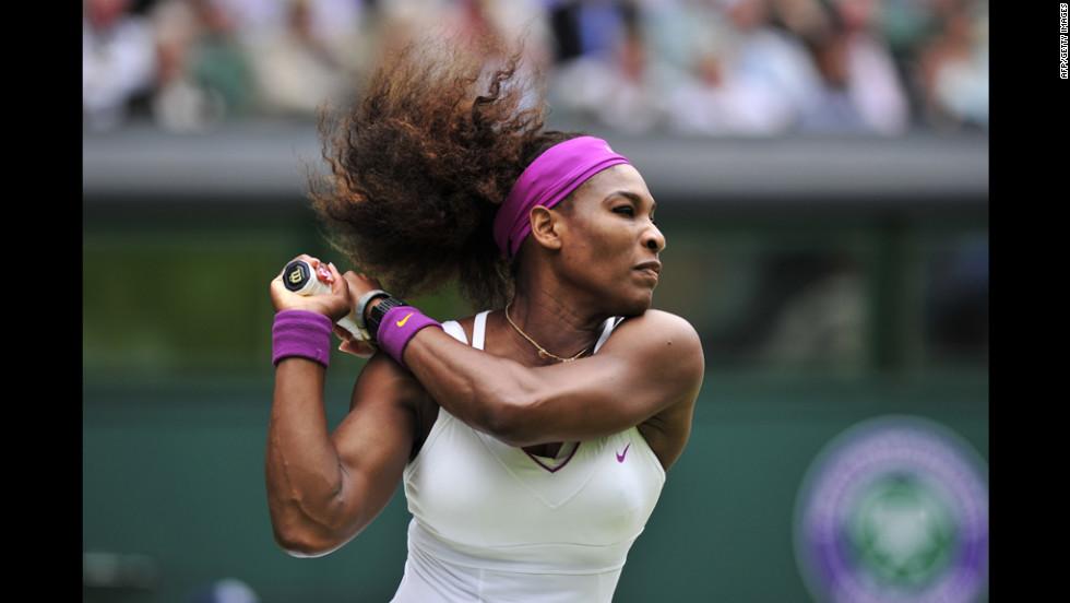 U.S. player Serena Williams plays a shot Thursday during her women's singles semifinal match against Victoria Azarenka of Belarus.