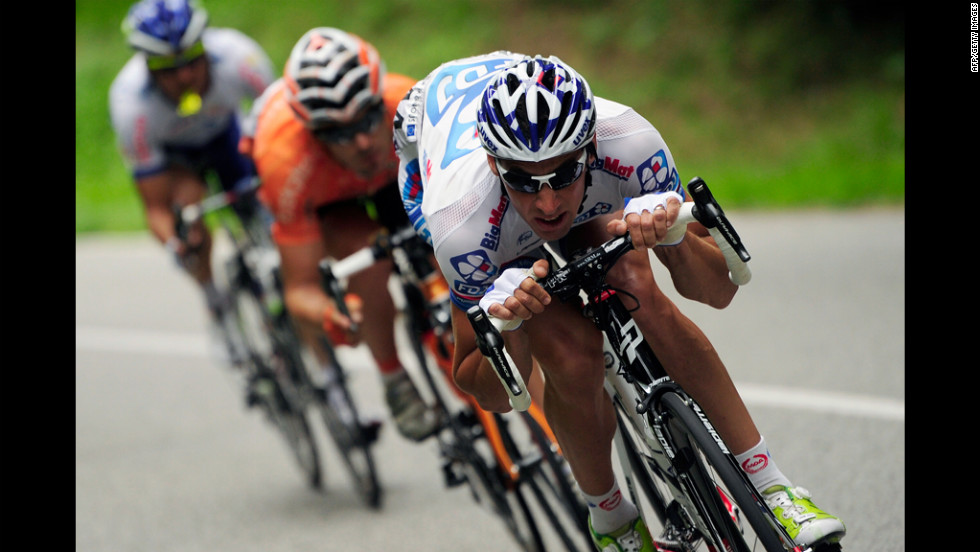 From left: Julien Simon of Saur-Sojasun, Pablo Urtasun Perez of Euskaltel-Euskadi and Matthieu Ladagnous of FDJ-BigMat ride in a breakaway from the main group Thursday.
