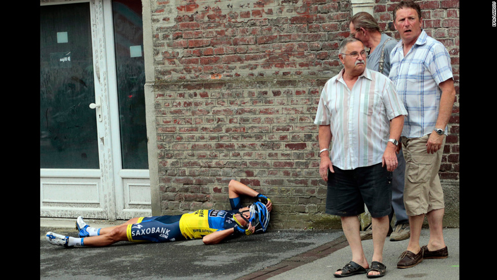 Jonathan Cantwell of Australia lies on the ground after crashing near the finish of Stage 5 Thursday.