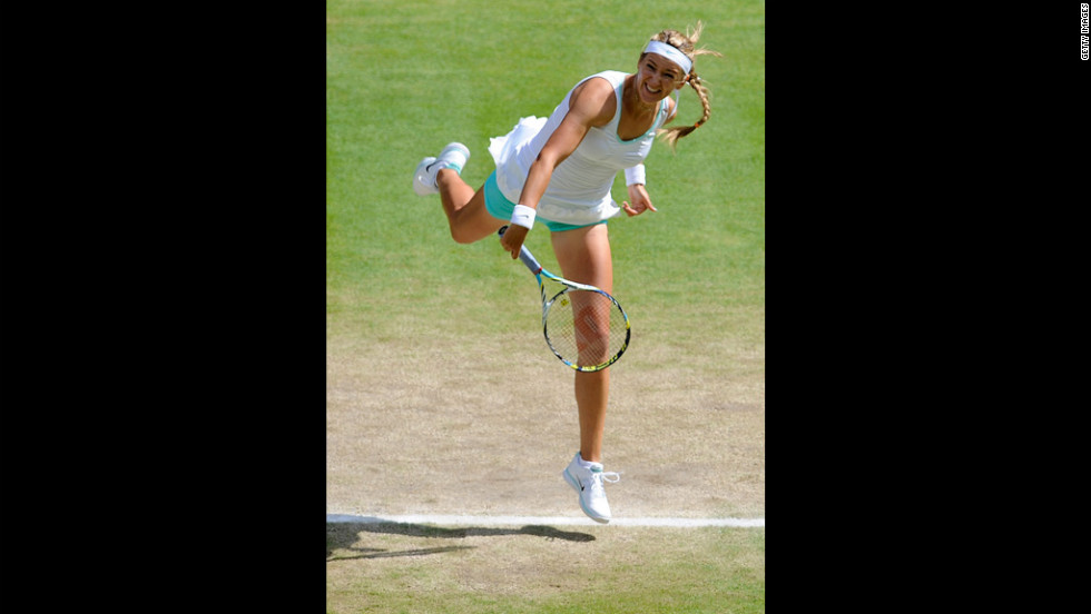 Victoria Azarenka of Belarus plays hard during her women's singles semi-final match against Serena Williams of the United States on Thursday.