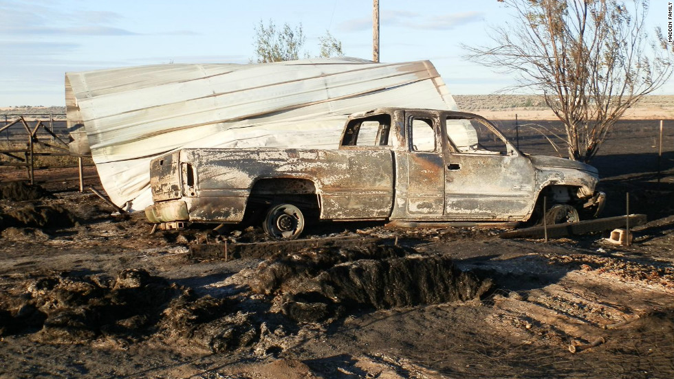 A truck on the Madden property was scorched by the wildfire that swept through the area.