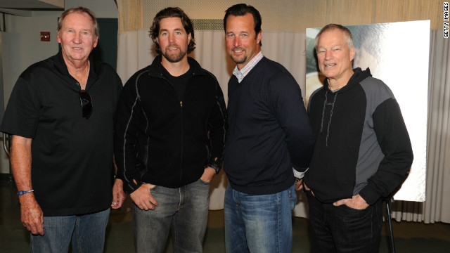 Charlie Hough, R.A. Dickey, Tim Wakefield and Jim Bouton, from left, attend the April premiere of of 'Knuckleball!' at the Tribeca Film Festival.