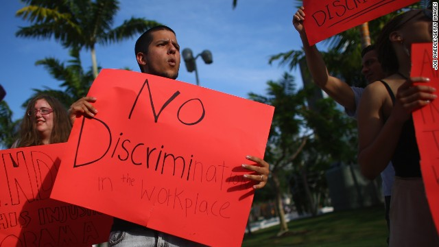 Esteban Roncancio and other protesters voice opposition to discrimination against LGBT Americans in Miami Beach in June.