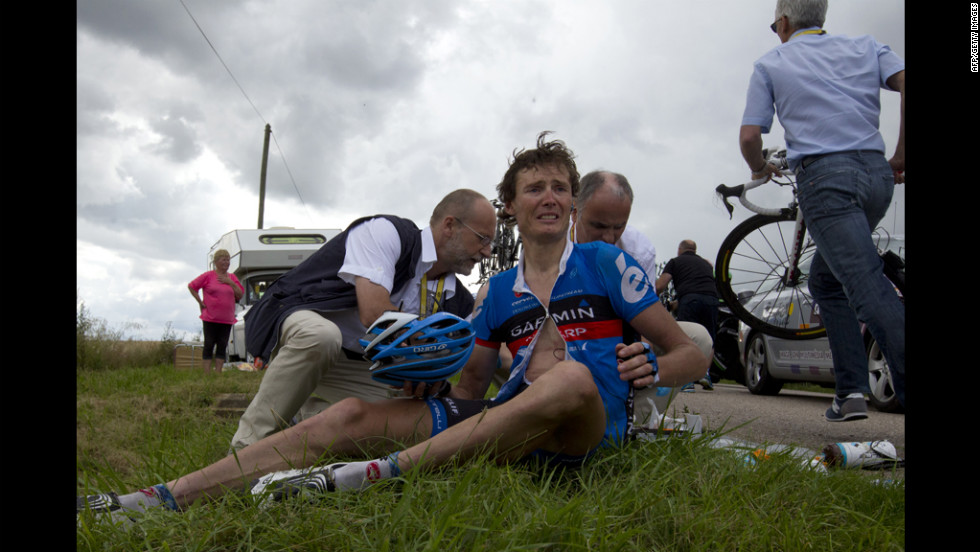 Belgium's Johan Van Summeren reacts after the crash on Friday, July 6.