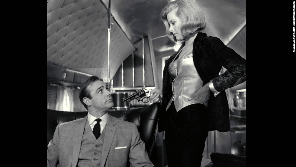 "Pussy Galore, played by Honor Blackman, and Sean Connery as Bond, in 1964's ""Goldfinger."""