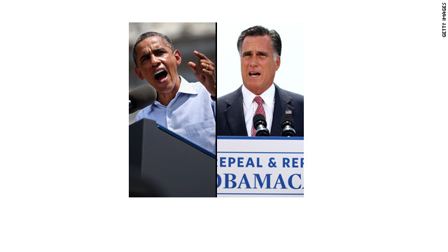 President Barack Obama and GOP Presidential candidate Mitt Romney speak to their supporters.