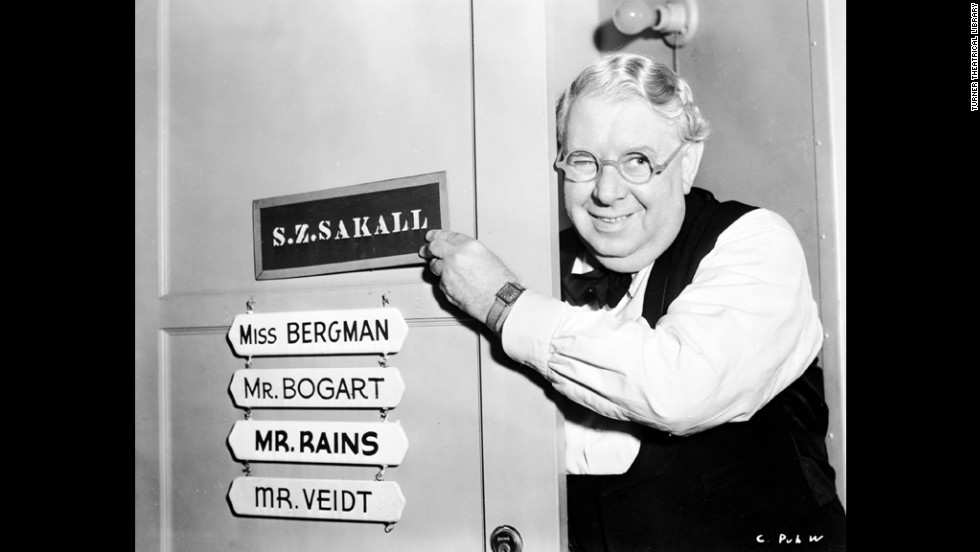 The actor S.Z. Sakall, who played Carl, poses on set outside his dressing room. Carl is a waiter at Rick's Cafe, where Bogart's character, Rick, has made a point of hiring European refugees, Mills notes.