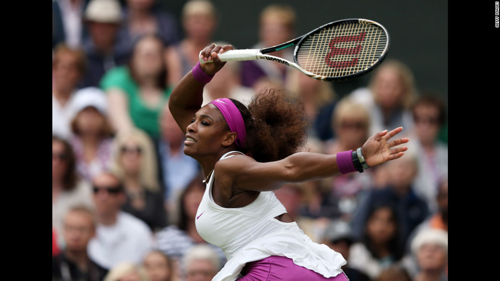 Williams hits a forehand return. The U.S. player is gunning for a 14th major singles titles.