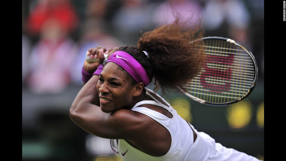 U.S. player Serena Williams swings the racket during her match against Poland's Agnieszka Radwanska on Saturday.