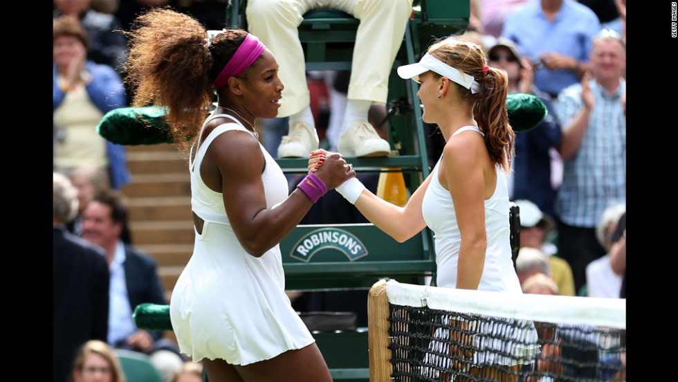 Williams and Radwanska shake hands after the match on Saturday.
