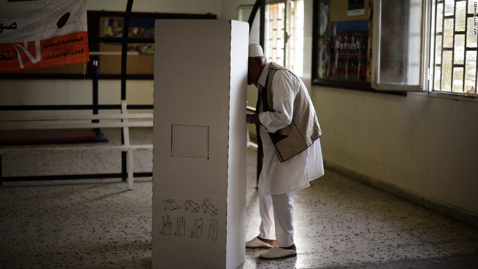 A man casts his vote at a Tripoli voting station on Saturday during Libya's General National Assembly election.