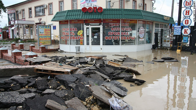 A handout photo taken on July 7, 2012 and released by Russia's Interior Ministry shows a flooded street of the city of Krymsk. Flash floods in Russia's southern Krasnodar region have killed at least 103 people and affected nearly 13,000 in the area's worst natural disaster in decades, officials said Saturday.