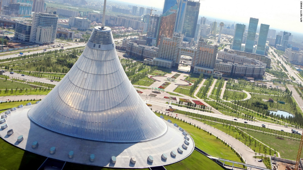 Astana's newest building is the Norman Foster-designed Khan Shatyr, a shopping mall that doubles as the world's largest tent.